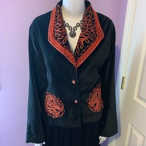 Parsley & Sage Velvet Embroidered Beaded Jacket M